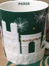 NEW Starbucks 2015 PARIS Christmas Green relief 18 oz mug NEW!