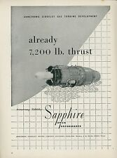 1951 Armstrong Siddeley Avaition Ad Sapphire Gas Turbine Jet Engine England
