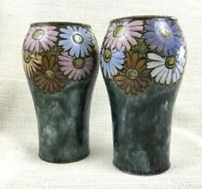 More details for pair of royal doulton pottery vases stoneware hand painted daisy florrie jones