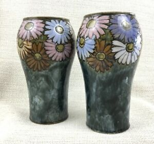 Pair of Royal Doulton Pottery Vases Stoneware Hand Painted Daisy Florrie Jones