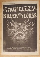 Thin Lizzy Killer on the loose  1980 press advert Full page 37 x 27 cm poster