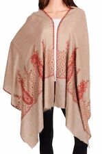 Pure Cashmere Brown Pashmina Embroidered: The Last Moghul Scarf or Wrap