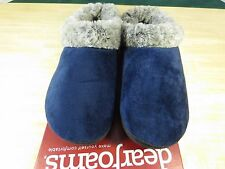 Dearfoams Clog Slippers With Faux Fur House Shoes Blue Women Small 5-6 New