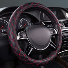 Universal Black Red Quilting Leather Car Steering Wheel Cover 37 38 cm Durable