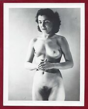 1940s Vintage Nude Photo~Big Perky Breasts Super Hairy Bush Thinking Pinup Poses