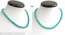 Woman Jewelry 6mm Turquoise Bead Choker Necklace 18'' (Note:1PC)