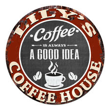 CPCH-0652 LILY'S COFFEE HOUSE Chic Tin Sign Decor Gift Ideas