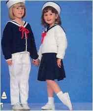 Girls' DK Vintage Nautical Knitting Pattern Sailor Collar Sweater Cardigan Skirt