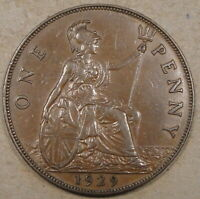 Great Britain 1929 Penny Better Circulated Grade