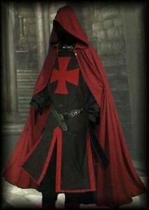 Halloween Costume Medieval Templar Knight Tunic,Surcoat & Cloak Reenactment SCA