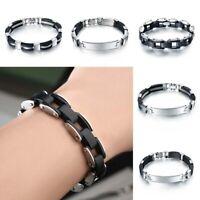 Unisex Stainless Steel Silicone Men Bracelet Wristband Black Cuff Bangle Jewelry