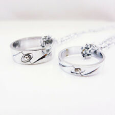 Wedding Rings Silver Stainless Steel Pendant Couple Necklace Set Lovers Gift