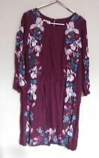 MONSOON ladies dress size 16 plum/lily design silk & viscose mix