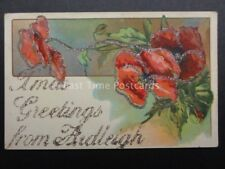 Poppies: ARDLEIGH in Essex, Glittered XMAS Greetings Postcard, Donate to R.B.L.
