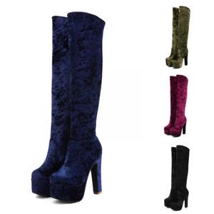 Women's Velvet Knee-high Boots High Heels Platform Shoes Occident Club Party