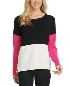 DKNY Women's Colorblock Sweater Black/White/Pink Size XS
