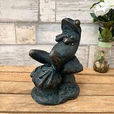 Vintage Frog On Toadstools Resin Sculpture Figurine Decorative Statue Ornament