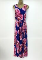 Marks and Spencer Dress UK Size 14 Maxi Blue Pink Floral Summer Beach Holiday