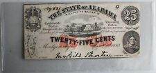 1863 Alabama Confederate Twenty Five Cent Fractional Currency Montgomery 25 Cent