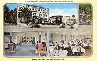 Linen Postcard Multiple Views Barker Hotel in Los Angeles, California~110945
