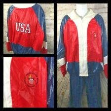 USA Olympic Training Center Tracksuit Shiny Red Blue XL Cooleys Rare Vintage