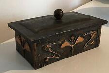 Art Nouveau Box Copper On Wood 7x4 Inches