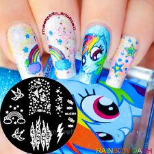 Nagel Schablone Nail Art Stamp Stamping Template Plates Vogel Rainbow  #MLS301