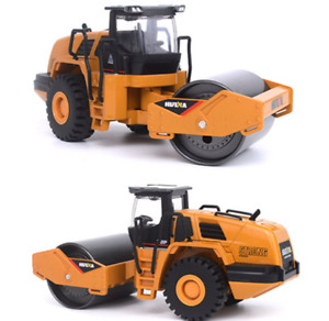 1/60 Yellow Metal Road Roller Models Diecast Engineering Vehicle Kids Toys Gifts