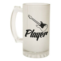 123t Frosted Glass Beer Stein Guitar Player Music Funny Novelty Birthday