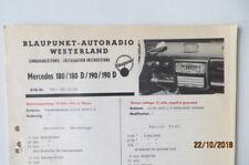 MERCEDES 180/180D/190/190D BLAUPUNKT Autoradio Einbauanleitung 1960 m.Entstörung