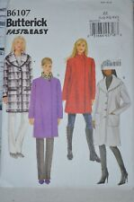 Butterick Fast N Easy Pattern B6107 Overcoat with Collar Variations Large XL XXL