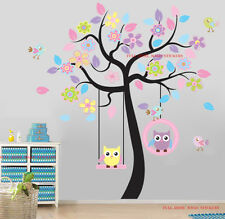 Giant Colourful Owls Swing Flower Tree Wall Stickers Baby Child Girls Room Decor