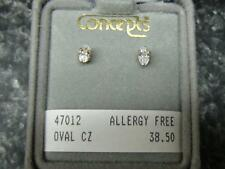 Concepts Non-Allergic Gold-Plated Stainless Steel 5x3 mm Oval CZ Earrings