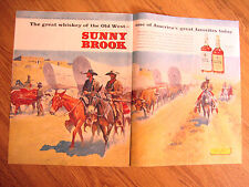 1960 Sunny Brook Whiskey Ad  The Old West Covered Wagon Train Theme