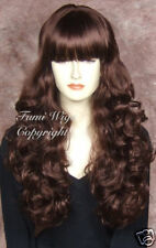 Silky Curly Wig in Dark Cherry Brown / 100% Japanese Fibre Brilliant Quality