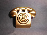 VTG Large Gold Tone Telephone Pin Brooch