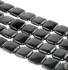 18X18MM BLACK JET GEMSTONE ORGANIC PERFECT SQUARE 18MM LOOSE BEADS 15.5""