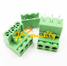 10pcs 2EDG 5.08mm Pitch 3Pin Plug-in Screw Terminal Block Connector Right Angle