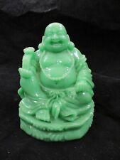 "Vintage - Jade Green - Resin - Buddha - Happy Seated Figurine Smiling 5"" Tall"
