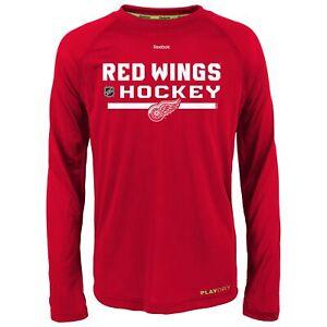 Reebok NHL Youth Detroit Red Wings PlayDry Long Sleeve Tee, Red
