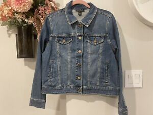 NWT motherhood maternity indigo blue jean denim jacket size l