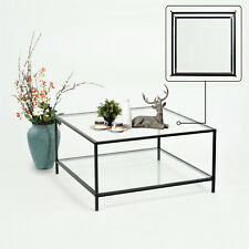 Table basse de Salon Carrée 80cm Verre Transparent Métal Noir Scandinave Design