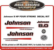 JOHNSON 8 HP FOUR STROKE OUTBOARD DECAL KIT  , reproduction