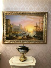 """""""Seaport at Sunset"""" Oil on Canvas Copy of Claude Lorrain"""