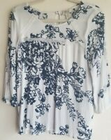 Vintage America Blues White Floral 3/4 Sleeve Top sz M