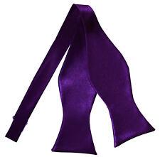 Purple Mens Self-Tie Bow Tie Satin Plain Solid Wedding Formal Bowtie by DQT