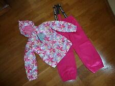 NWT Girls GUSTI Pink Leaf Spring 3 in 1 Coat Splash Pants Set Outfit 6X NEW