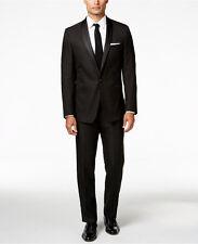 Calvin Klein Black/White Shadow Grid Shawl Collar 44Long/35W X Slim-Fit Tuxedo