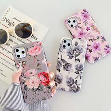For iPhone 11 SE 2020 XR 6s 7 8Plus Elegant Art Flowers Pattern Soft Phone Cases