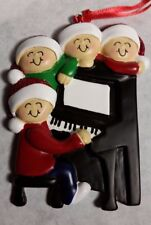 Personalized Around the Piano Family 4 Christmas Tree Ornament Holiday Gift